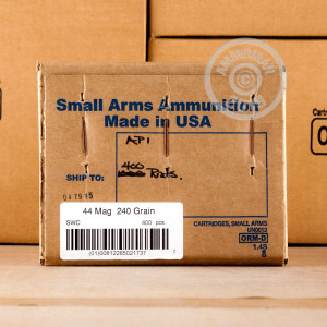 A photo of a box of Armscor ammo in 44 Remington Magnum.