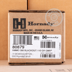 Photo detailing the 300 AAC BLACKOUT HORNADY CUSTOM 110 GRAIN GMX (20 ROUNDS) for sale at AmmoMan.com.
