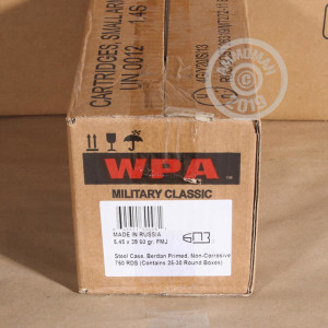 A photo of a box of Wolf ammo in 5.45 x 39 Russian that's often used for training at the range.