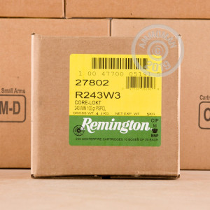 A photo of a box of Remington ammo in 243 Winchester.
