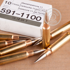 A photograph detailing the 7.5 X 55 ammo with FMJ-BT bullets made by RUAG Munitions.