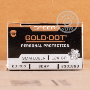 A photograph of 500 rounds of 124 grain 9mm Luger ammo with a JHP bullet for sale.