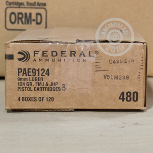 9MM LUGER FEDERAL COMBO PACK 124 GRAIN JHP/FMJ (120 ROUNDS)