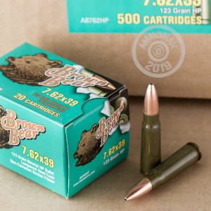 A photograph of 20 rounds of 123 grain 7.62 x 39 ammo with a HP bullet for sale.