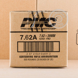 An image of 7.62 x 39 ammo made by PMC at AmmoMan.com.