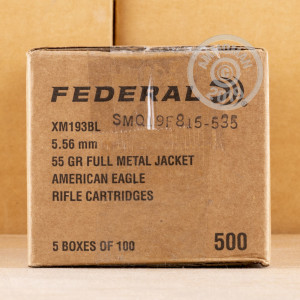 Photo detailing the 5.56x45 - 55 gr FMJBT XM193 - Federal - 100 Rounds for sale at AmmoMan.com.