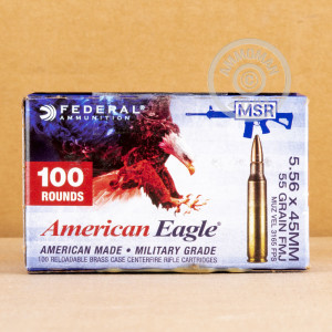 Image of the 5.56x45 - 55 gr FMJBT XM193 - Federal - 100 Rounds available at AmmoMan.com.