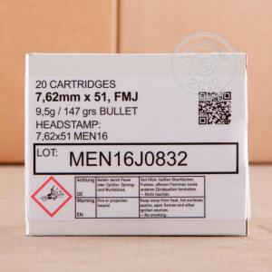 Photo of 308 / 7.62x51 FMJ ammo by Magtech for sale.