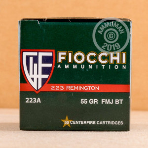 Photo of 223 Remington FMJ ammo by Fiocchi for sale.