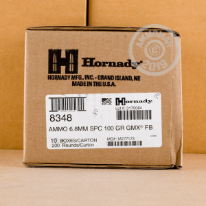 A photograph detailing the 6.8 SPC ammo with GMX bullets made by Hornady.