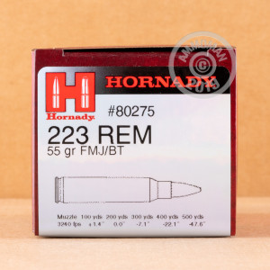 Photo detailing the 223 REM HORNADY 55 GRAIN FMJ-BT (50 ROUNDS) for sale at AmmoMan.com.