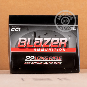 rounds of .22 Long Rifle ammo with Lead Round Nose (LRN) bullets made by Blazer.