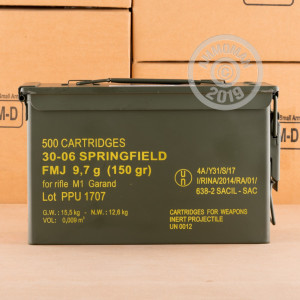 A photograph detailing the 30.06 Springfield ammo with FMJ bullets made by Prvi Partizan.