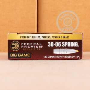 A photograph detailing the 30.06 Springfield ammo with Trophy Bonded Tip bullets made by Federal.