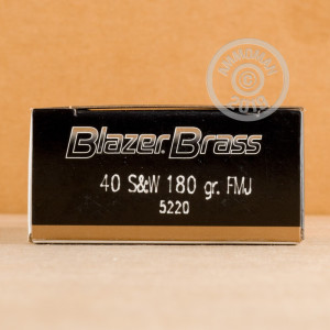Photo of .40 Smith & Wesson FMJ ammo by Blazer Brass for sale at AmmoMan.com.