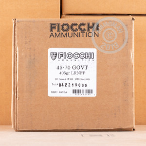 Photo of 45-70 Government Lead Round Nose (LRN) ammo by Fiocchi for sale.