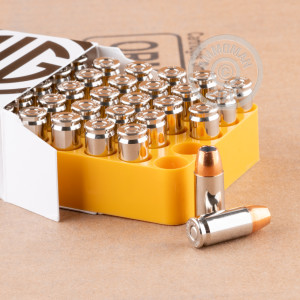 Image of 9mm Luger ammo by SIG that's ideal for home protection.