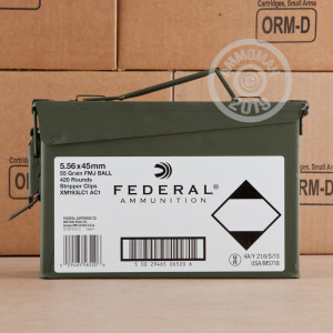Image of the 5.56x45MM FEDERAL 55 GRAIN XM193 FULL METAL JACKET (420 ROUNDS) available at AmmoMan.com.