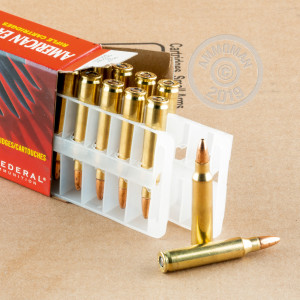 Photo detailing the .223 FEDERAL 50 GRAIN JACKETED HOLLOW POINT (500 ROUNDS) for sale at AmmoMan.com.