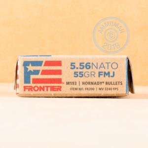Image of the 5.56X45 HORNADY FRONTIER 55 GRAIN FMJ M193 (20 ROUNDS) available at AmmoMan.com.