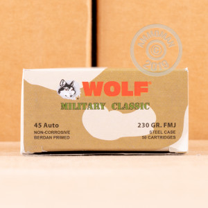 Photo of .45 Automatic FMJ ammo by Wolf for sale at AmmoMan.com.