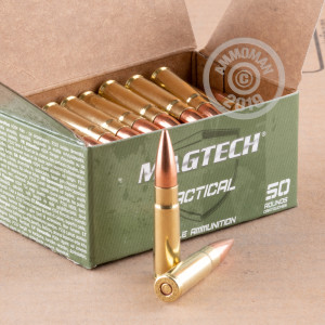 A photo of a box of Magtech ammo in 300 AAC Blackout.