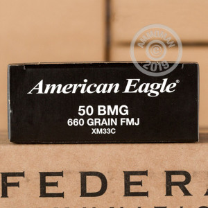 Image of .50 BMG ammo by Federal that's ideal for training at the range.