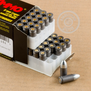 A photograph of 100 rounds of 115 grain 9mm Luger ammo with a FMJ bullet for sale.