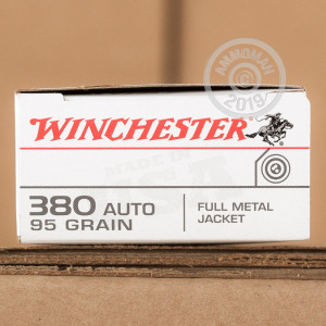 A photo of a box of Winchester ammo in .380 Auto.