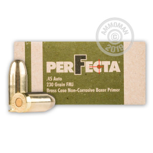 Image of .45 Automatic ammo by Fiocchi that's ideal for training at the range.