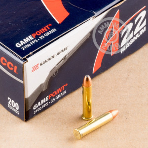 rounds of .22 WMR ammo with Jacketed Soft-Point (JSP) bullets made by CCI.