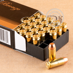 A photograph of 50 rounds of 200 grain 10mm ammo with a Full Metal Jacket Truncated Cone (FMJTC) bullet for sale.