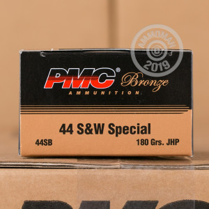 A photo of a box of PMC ammo in 44 Special.