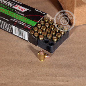 A photograph detailing the .40 Smith & Wesson ammo with frangible bullets made by SinterFire.