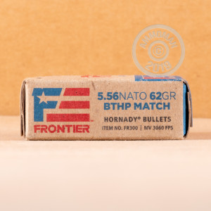 Photograph showing detail of 5.56X45 HORNADY FRONTIER 62 GRAIN BTHP MATCH (20 ROUNDS)