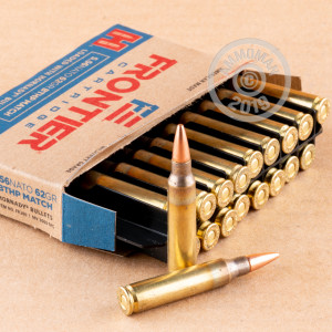 Photo detailing the 5.56X45 HORNADY FRONTIER 62 GRAIN BTHP MATCH (20 ROUNDS) for sale at AmmoMan.com.