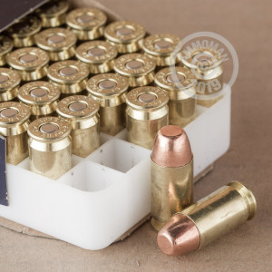 Image detailing the brass case and boxer primers on the Speer ammunition.