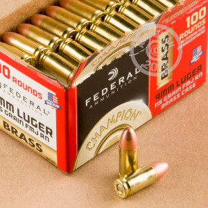 9mm - 115 gr FMJ - Federal Champion - 100 Rounds