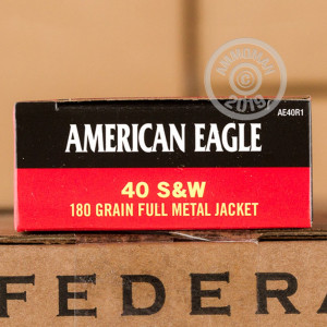 A photograph of 500 rounds of 180 grain .40 Smith & Wesson ammo with a FMJ bullet for sale.