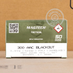 Photo of 300 AAC Blackout FMJ ammo by Magtech for sale.