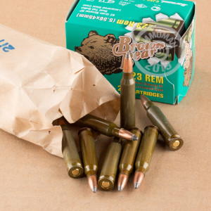 An image of 223 Remington ammo made by Brown Bear at AmmoMan.com.