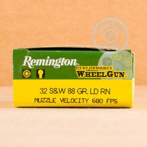 A photo of a box of Remington ammo in 32 Smith & Wesson.