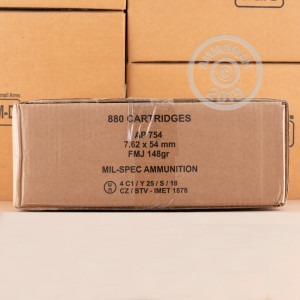 Image of bulk 7.62 x 54R rifle ammunition at AmmoMan.com that's perfect for training at the range.