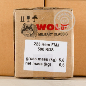 Image of 223 REMINGTON WOLF WPA MILITARY CLASSIC 55 GRAIN FMJ (500 ROUNDS)
