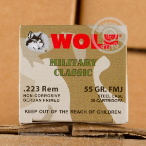 Photograph showing detail of 223 REMINGTON WOLF WPA MILITARY CLASSIC 55 GRAIN FMJ (500 ROUNDS)