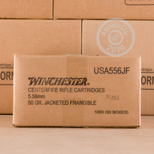 Photo detailing the 5.56x45 WINCHESTER 50 GRAIN FRANGIBLE (1000 ROUNDS) for sale at AmmoMan.com.