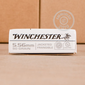 Photograph showing detail of 5.56x45 WINCHESTER 50 GRAIN FRANGIBLE (1000 ROUNDS)