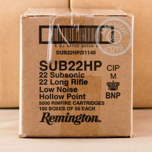 Photograph of .22 Long Rifle ammo with Lead Hollow Point (LHP) ideal for hunting varmint sized game.
