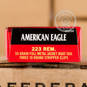 Photo detailing the .223 REMINGTON FEDERAL AMERICAN EAGLE 55 GRAIN FMJ-BT (30 ROUNDS) for sale at AmmoMan.com.