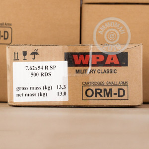 An image of 7.62 x 54R ammo made by Wolf at AmmoMan.com.